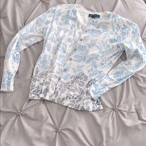 Blue Floral Detail Cardigan